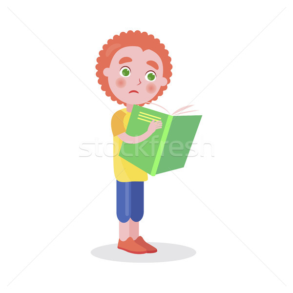 Redhead Boy Stands and Reads Book Vector Isolated Stock photo © robuart