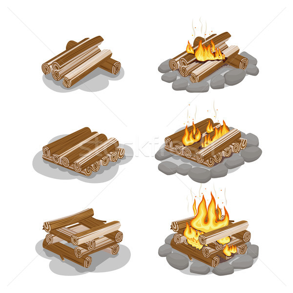 Firewood Lighted and Unlighted Fire Illustration Stock photo © robuart