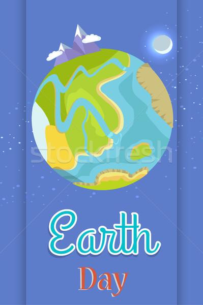 Poster toegewijd viering vakantie planeet Stockfoto © robuart