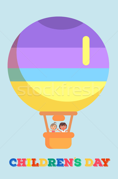 Childrens Day Template with Kids in Air Balloon Stock photo © robuart