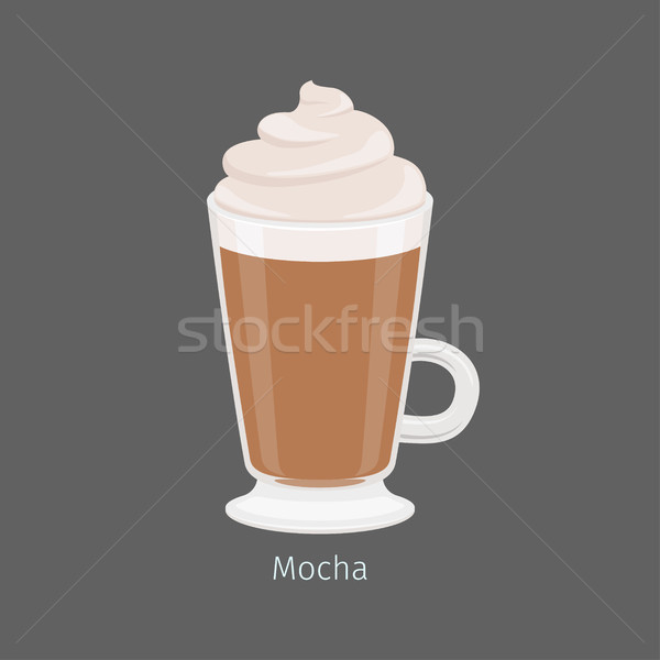 Irish Glass With Mocha Coffee Flat Vector Stock photo © robuart