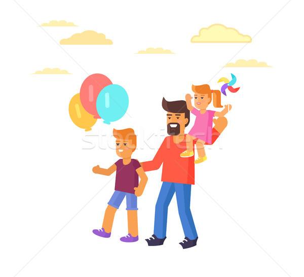 Apa fia tart léggömbök karok levegő lánygyermek Stock fotó © robuart