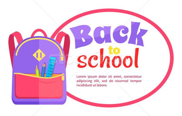 Rucksack Kind Schule Schreibwaren Zubehör Zurück in die Schule Stock foto © robuart