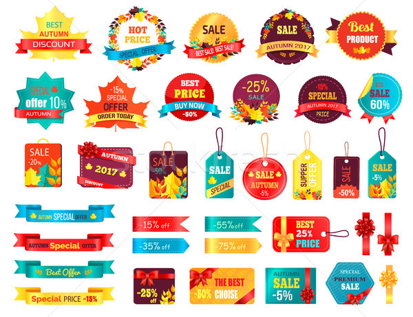 Shopping Autumn Stickers on Vector Illustration Stock photo © robuart