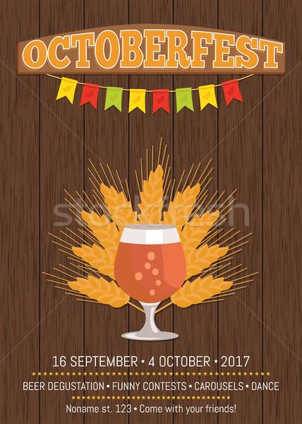 Cerveja transparente artigos de vidro vetor criador cartaz Foto stock © robuart