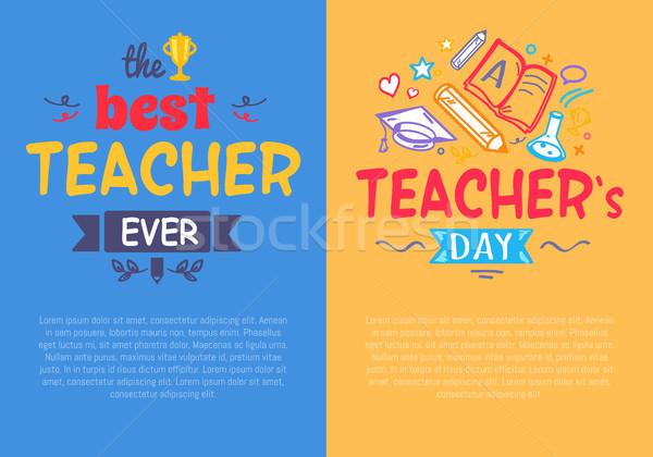 Ingesteld posters leraar dag best compliment Stockfoto © robuart