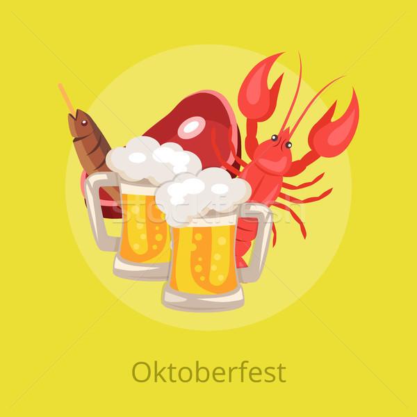 Oktoberfest voedsel dranken ingesteld bier snacks Stockfoto © robuart
