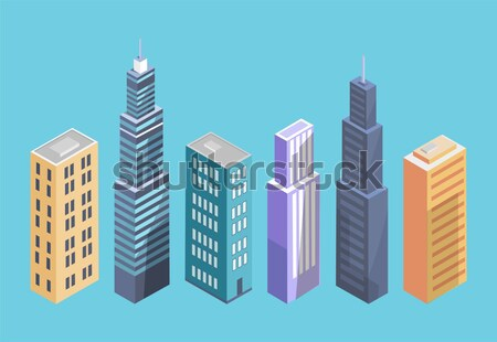 High Cartoon Skyscrapers Isolated Illustration Stock photo © robuart
