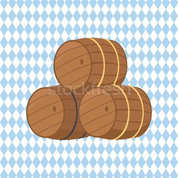 Wooden Barrels with Beer Vector Illustration Stock photo © robuart