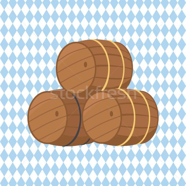 Fából készült sör izolált kockás három üreges Stock fotó © robuart