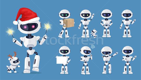 Engraçado robô conjunto ícones branco belo Foto stock © robuart