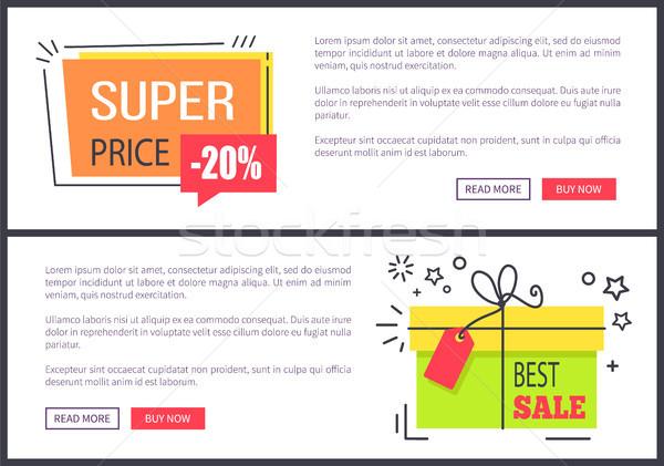 Foto stock: Super · preço · o · melhor · venda · pôsteres · publicidade