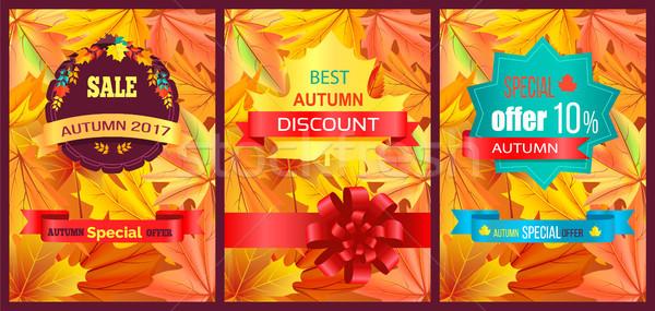 Autumn 2017 Best Sale Poster Vector Illustration Stock photo © robuart