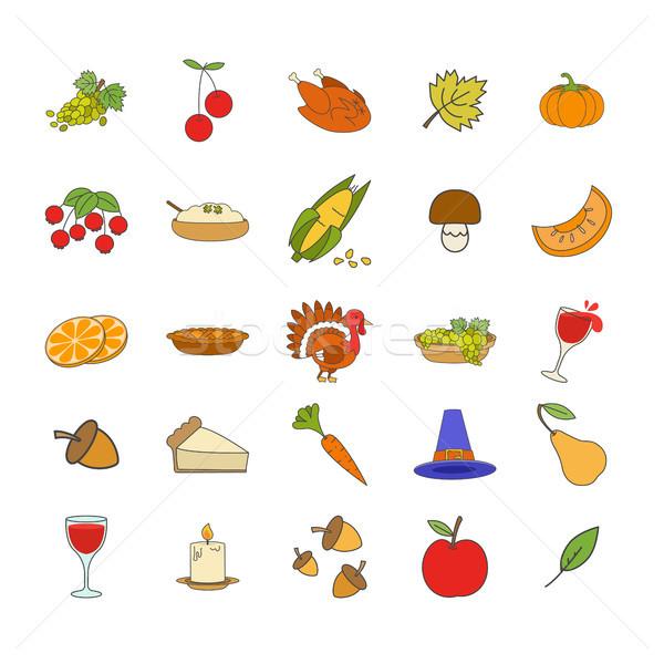 Thanksgiving Day Attributes Illustrations Set Stock photo © robuart