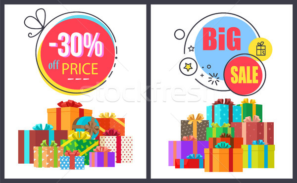 Big Sale -30 Off Round Labels with Gift Icons Set Stock photo © robuart