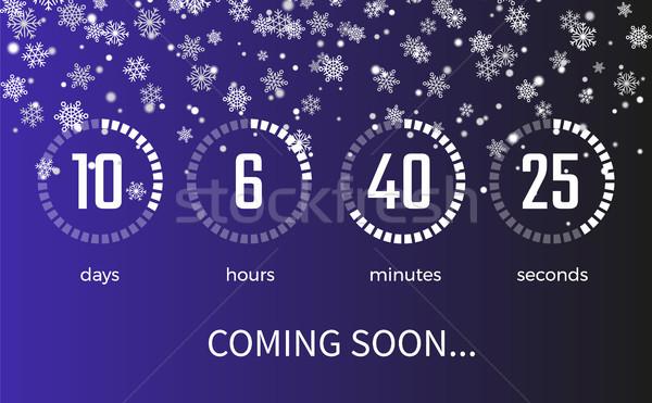 Hamarosan jön időzítő ikonok jegyzőkönyv másodpercek hópelyhek Stock fotó © robuart
