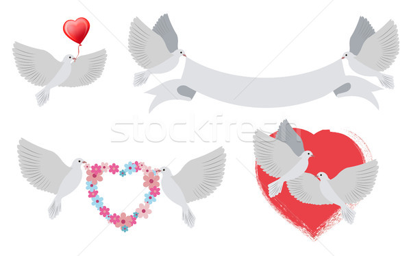 Doves and Hearts with Banners Vector Illustration Stock photo © robuart