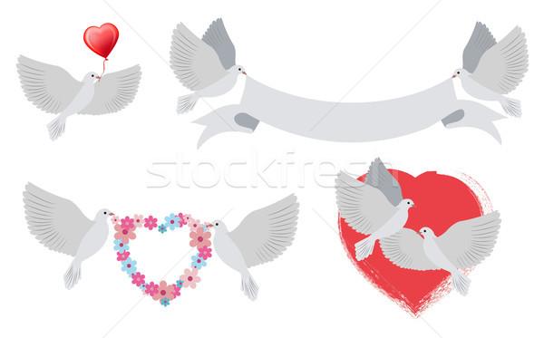 Serca banery ptaków miłości Zdjęcia stock © robuart