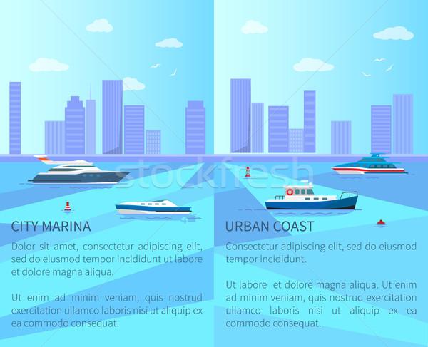 Város marina városi part különböző hajók Stock fotó © robuart