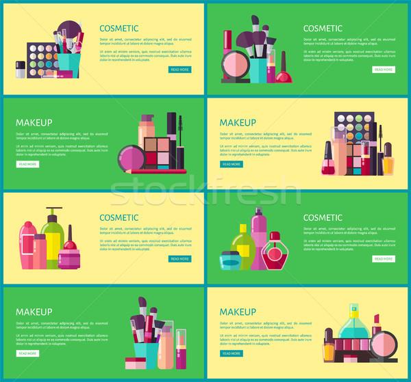 Stockfoto: Cosmetische · make · collectie · websites · knoppen · tekst