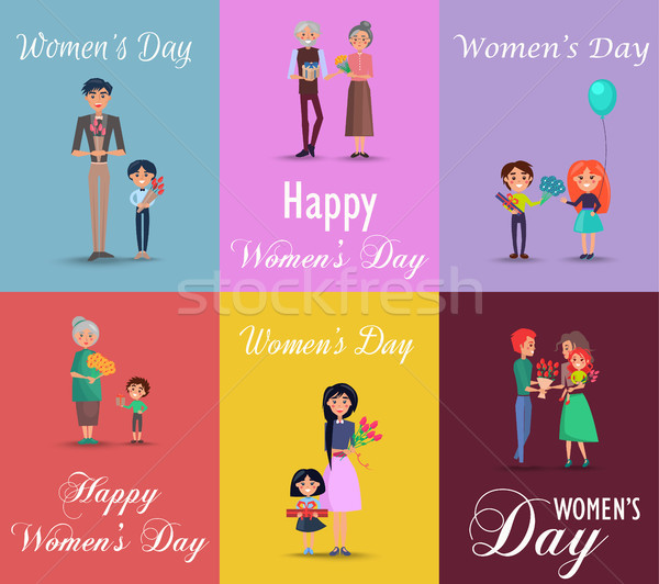 Six Posters on Womens Day with Gifts and Flowers Stock photo © robuart