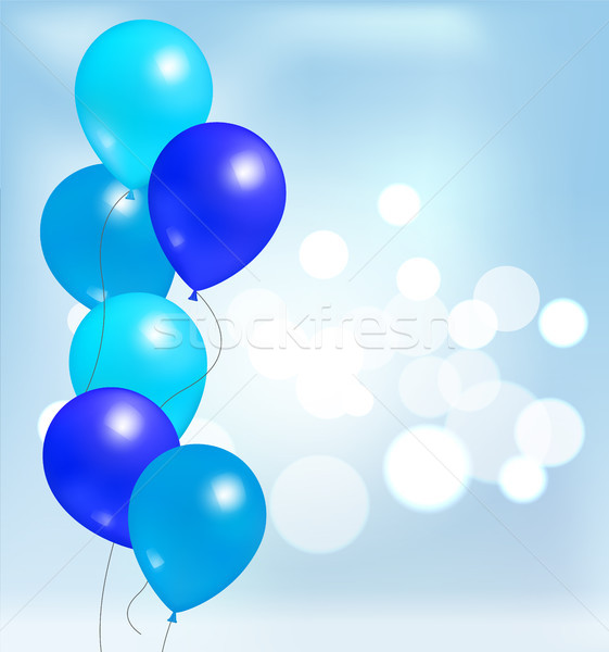 Brillant ballons fête décorations bleu Photo stock © robuart
