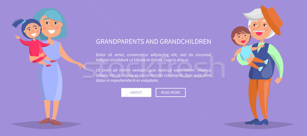Grandparents and Grandchildren Poster with Family Stock photo © robuart