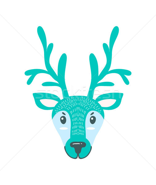 Furry North Pole Deer with Long Branchy Horns Stock photo © robuart