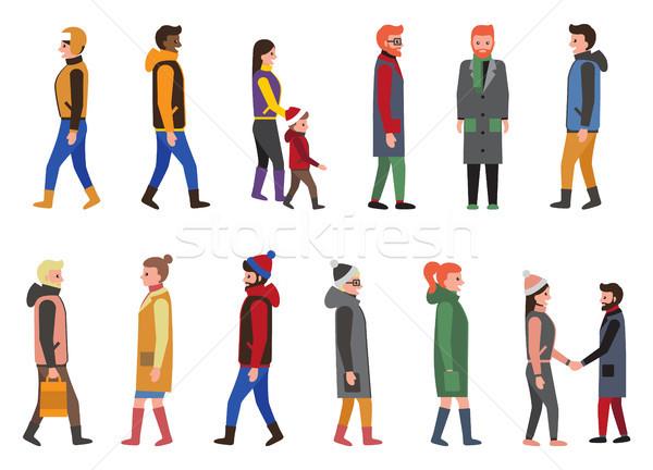 Zdjęcia stock: Ludzi · kolekcja · ikona · mężczyzn · kobiet