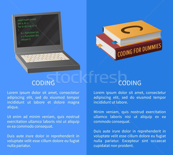 Coding Banner with Portable Computer and Textbooks Stock photo © robuart