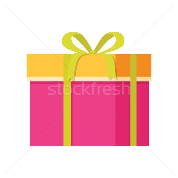 Gift Box with Decorative Drawing on Wrapping Paper Stock photo © robuart