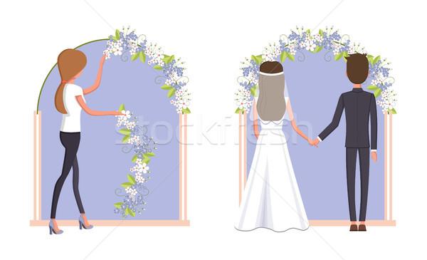 女性 結婚式 アーク 新郎 花嫁 着用 ストックフォト © robuart
