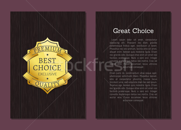 Great Choice Exclusive Premium Quality Gold Label Stock photo © robuart