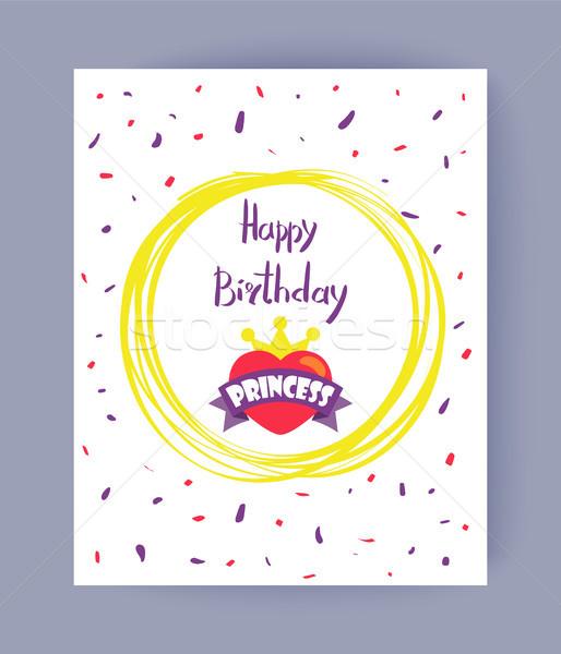 Feliz princesa color feliz cumpleaños palabras cute Foto stock © robuart