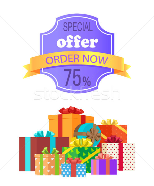 Special Offer Order Now 75 Off Emblem with Ribbon Stock photo © robuart