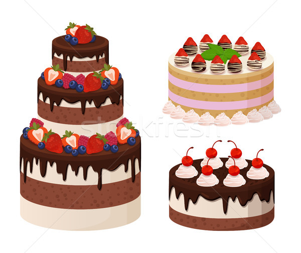 Sweet Bakery Collection Poster Vector Illustration Stock photo © robuart