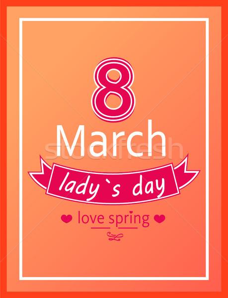 Dia amor primavera caligrafia imprimir dedicado Foto stock © robuart