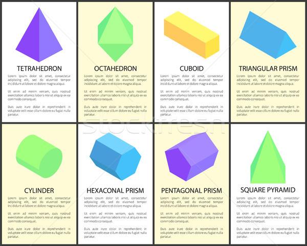 геометрический набор цилиндр квадратный пирамида текстуры Сток-фото © robuart