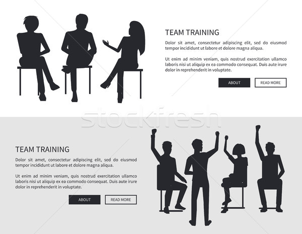 Team Training People Black Silhouettes Sit Chairs Stock photo © robuart
