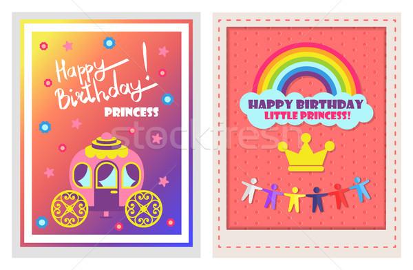 Happy Birthday Posters Set Vector Illustration Stock photo © robuart