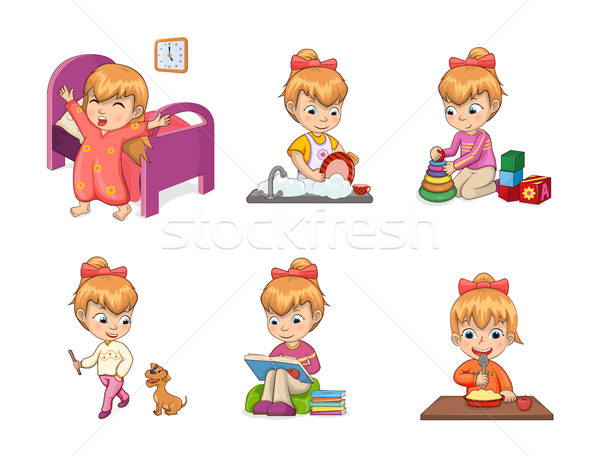 Girls Activities Collection Vector Illustration Stock photo © robuart