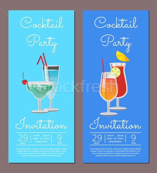 Cocktail Party Invitation Summertime Fest August Stock photo © robuart