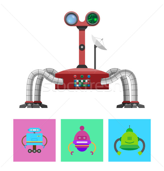 Technology and Creatures Set Vector Illustration Stock photo © robuart