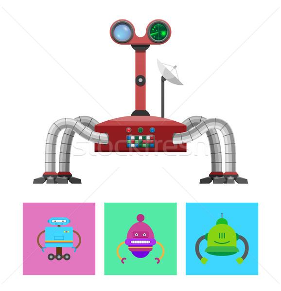 Tecnologia criaturas conjunto robô radar verde Foto stock © robuart