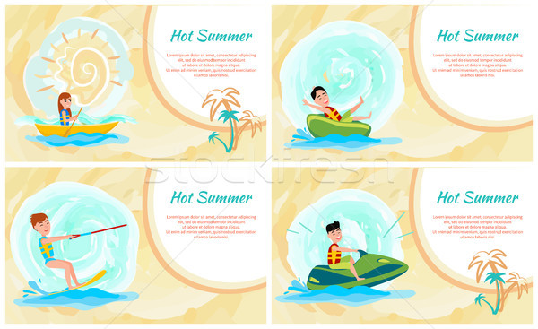 Hot Summer Banner, Colorful Vector Illustration Stock photo © robuart