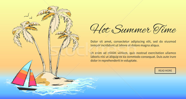 Hot Summer Time Banner with Tropical Sandy Island Stock photo © robuart