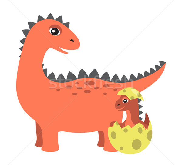 Prehistoric Creature and Egg Vector Illustration Stock photo © robuart