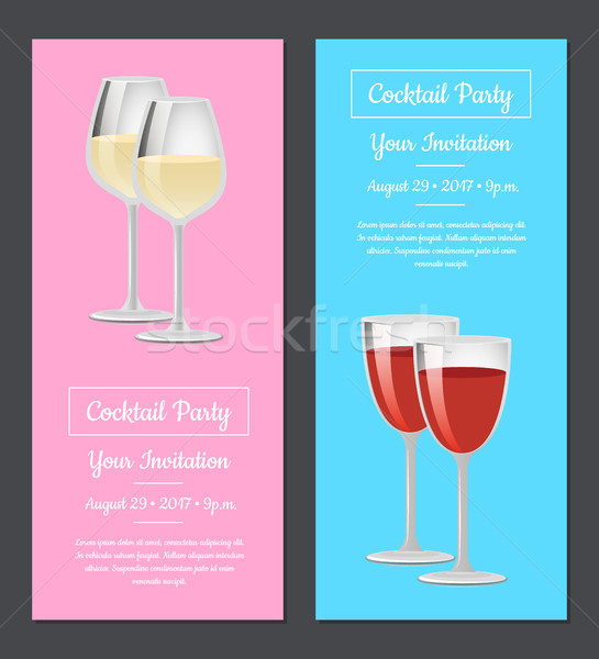 Cocktail party uitnodiging poster ingesteld rode wijn posters Stockfoto © robuart