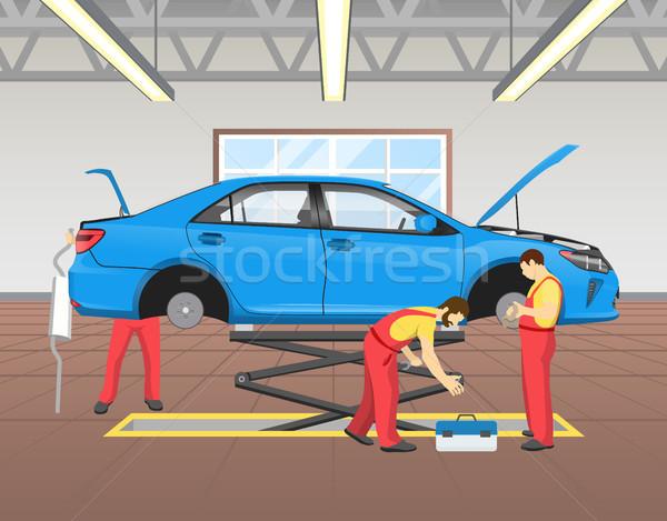Blauw auto garage vol licht Stockfoto © robuart