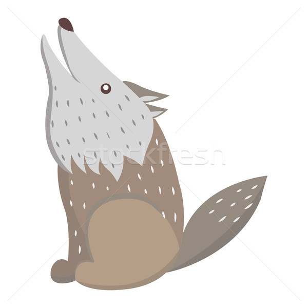 Cute Wolf Cartoon Flat Vector Sticker or Icon Stock photo © robuart